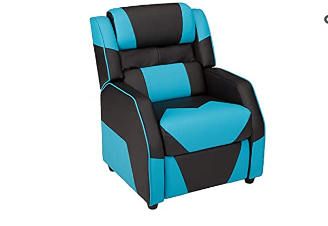 AmazonBasics Kids Youth Gaming Recliner with Headrest and Back Pillow  5  Age Group  Black and Blue  Renewed  Not Inspected