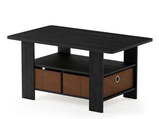 Furinno Andrey Coffee Table with Bin Drawer  Americano Medium Brown 11158AM MBR   Not Inspected