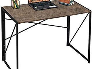 Writing Computer Desk 39  Modern Simple Study Desk Industrial Style Folding laptop Table for Home Office Notebook Desk Brown Desktop Black Frame