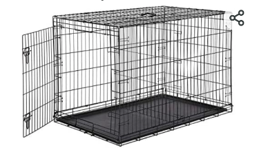 AmazonBasics Single Door   Double Door Folding Metal Dog or Pet Crate Kennel with Tray  48 x 30 x 32 5 Inches   Not Inspected