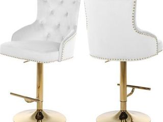 Meridian Furniture Claude Collection Modern   Contemporary Velvet Upholstered ADJUSTABlE Bar   Counter Stool with Gold Metal Base  20 5  W x 22  D x 42  50  H  White  1 stool