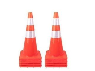 10 Pack   28  Traffic Cones PVC Safety Road Parking Cones Weighted Hazard Cones Construction Cones for Traffic Fluorescent Orange w 4  w 6  Reflective Strips Collar  10