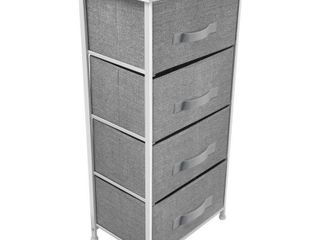 mDesign Vertical Furniture Storage Tower   Sturdy Steel Frame  Wood Top  Easy Pull Fabric Bins   Organizer Unit for Bedroom  Hallway  Entryway  Closets   Textured Print   4 Drawers   Gray White