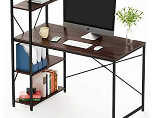 Bestier Computer Desk with Shelves 47 Inch Reversible Writing Desk with Storage Bookshelf Home Office Desk Study Table Work Desk with Shelves Office Bookshelf Corner Desk Easy Assemble  47 Inch  Oak    Not Inspected