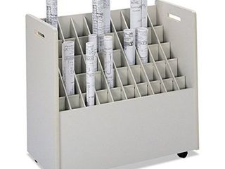 Safco Mobile Roll File  50 Compartment  Putty