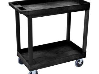 lUXOR EC11HD B High Capacity 2 Tub Shelves Cart in Black
