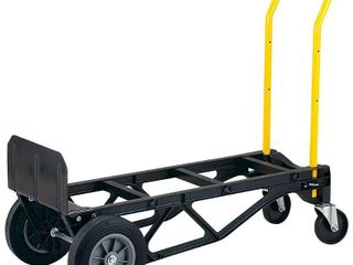 Harper Trucks 700 lb Capacity Glass Filled Nylon Convertible Hand Truck and Dolly with 10  Flat Free Solid Rubber Wheels