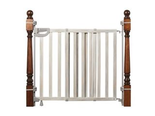 Summer Metal Banister and Stair Safety Baby Gate  White Finish Aaa 32 5AaA Tall  Fits Openings of 31AaA to 46AaA Wide  Extra Wide Door Opens The Full Width of Your Stairway  Convenient Baby and Pet Gate