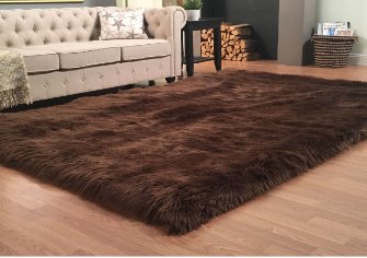 Gorilla Grip Original Premium Faux Fur Area Rug  6x9  Softest  luxurious Shag Carpet Rugs for Bedroom  living Room  luxury Bed Side Plush Carpets  Rectangle  Brown