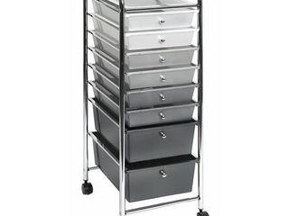 Seville Classics 8 Drawer Multipurpose Mobile Rolling Utility Storage Bin Organizer Cart  Gradient Gray