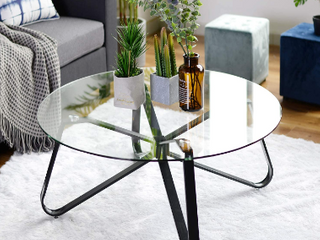 Round Coffee Table  31 5 inch Sofa Side Table with Tempered Glass Top   Metal legs  Anti Slip Design Accent End Table Easy Assembly and Clean for living Room  21 3 x 21 3 x 15 6 inches  Black   Not Inspected