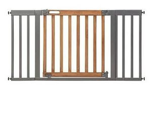 Summer West End Safety Baby Gate  Honey Oak Stained Wood with Slate Metal Frame Aaa 30AaA Tall  Fits Openings up to 36AaA to 60AaA Wide  Baby and Pet Gate for Wide Spaces and Open Floor Plans