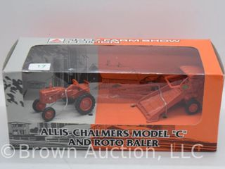 Allis Chalmers Model  C  tractor and Roto Baler  1 43 scale
