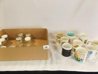 Mugs  9  Jars with lids  10