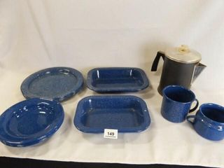 Blue Enamelware  12  Coffee Pot