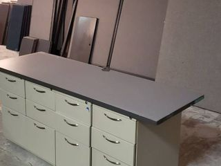 Cubicle Parts  Walls  4 Metal Drawer Cabinets  Gray Desk Tops and other Cubicle Accessories