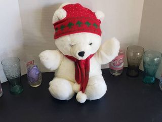 Holiday Stuffed Bear  4 Coca Cola Glasses  2 McDonald s Glasses and Mumbly Character Pepsi Glass
