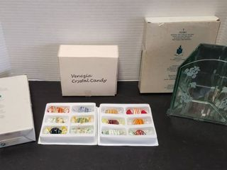 Venezia Crystal Candy  12 pcs  New  and Partylite PO361 Infinite Iris Candle Holder  PO357 Myriad Images Candle Holder  NIB