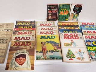 Vintage MAD Magazines   Various Dates  1958 to 1983 and 3 Paperback Books