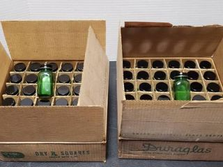 Vintage Duraglass Emerald Green Glass   2 OZ Rx Jars   2 Cases of 36