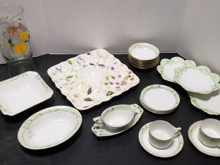 German China Pieces   Hutschenreuther Bavaria China  Chip   Dip Platter  and Painted Hurricane Chimney