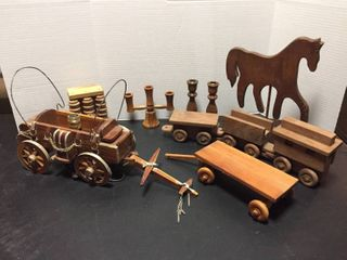 Handmade Wood items  Vintage Wagon lamp  Train  Flatbed Wagon  Candle holders  Foot massager  Horse