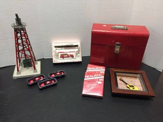 Vintage metal file box  Replica toy cars  8 track tapes  wall decor lionel Industrial Water Tower for Train set up   is missing top tank