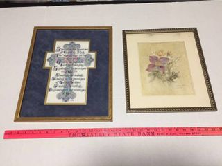 Framed Religious Cross stitch   Framed Floral Print