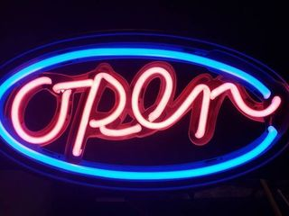 OPEN   Neon Sign   18 x 9 in    Works   Pull Chain on off   will need chain to hang