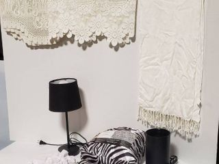 Zebra Print QUEEN Satin Sheet Set  2 Black lamps  both work  Scarf  2 lacy Valence Curtains  lace lingerie Bag and Stainless Steel Heart Bracelet