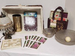 Brown Accent Decor   Basket  lamp  works  Glass Bowl Candle Holders  Heartfelt Note Card Collection  Botanica Cards and Guest Book