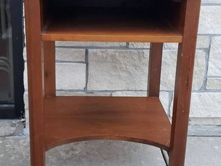 Wood Accent Table w Shelves   20 x 20 x 30 in  tall
