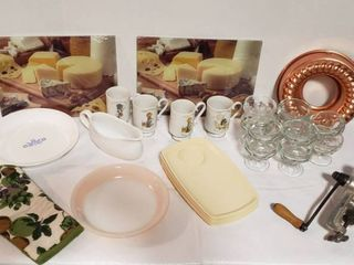 Kitchen Items   Pie Pans  Holly Hobbie Mugs  2 Glass Cheese Cutting Boards  Clear Glass Sorbet Cups  Thermo Temp Trays  Gravy Boat  Keystone Grinder  Copper Mold  and Oven Mitt