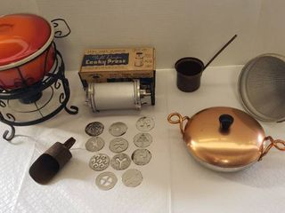 Metal Kitchenware   Enamel Serving Pot on Stand  Vintage Cooky Press  Strainer  Copper lid Wear Ever Pan and Scoop  ladle pot