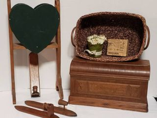 Vintage Wood Sewing Machine Cover  20 x 10 x 11 in  tall  leather Handle Basket  Rise Arrangement  Wooden Green Heart Magazine Rack and 3 Wood Candle Wall Sconces