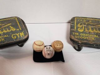 2 Vintage Titus Gym Original Scooters and 3 Baseballs  Nolan Ryan  1945 Marshall Islands Champions and Wichita Sporting Goods