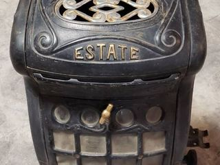 The Estate Stove Company Cast Iron Gas Stove Active No  206   16 x 12 x 28 in  tall   one leg broke and Chrome Finale pegs broke   see pix