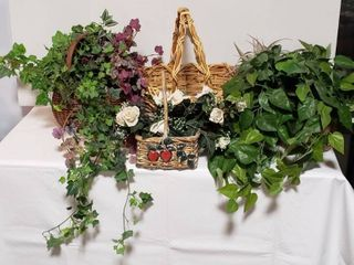 4 Wicker Baskets and Greenery