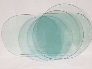 5 Clear Glass Table Toppers w Polished Edges   Oval  39 x 19 in  and 4 Rounds   2 19 in  21 in    23 in  diameter