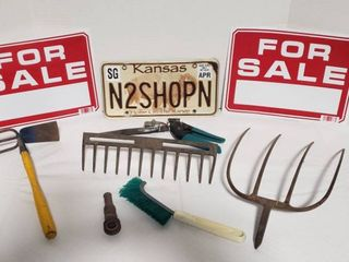 lawn Tool Items  For Sale Signs  and license Plate