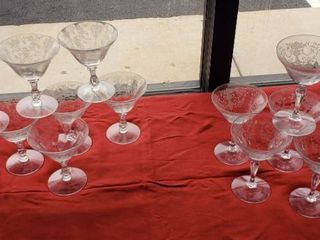 2 Sets of English Fostoria Etched Sherry or Sorbet Crystal Stemmed Glasses