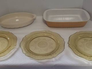 3 Amber Depression Glass Platters and 2 Ceramic Baking Dishes