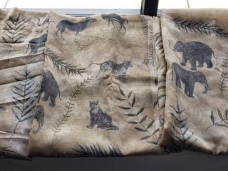 3 Waverly African Wildlife Sheer Curtain Panels   86 x 49 in    panel