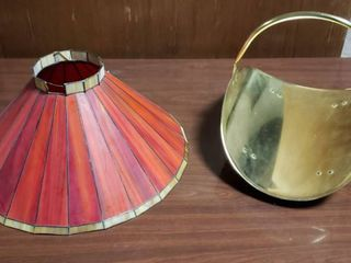 Red Gold Stained Glass lamp Shade  2 small glass pieces broke on top  and Brass Firewood Holder