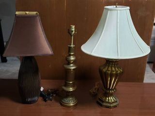 3 Table lamps   2 Brass Bases and One Ceramic Base   only 2 lamp Shades