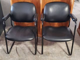 Pair of Black Vinyl Office Chairs w Padded Arms   24 x 24 x 33 in  tall   Seat  18 in    some minor dings   see pix