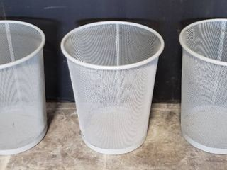 3 Gray Metal Mesh Waste Cans by Ikea   14 in  tall x 11 5 in diameter