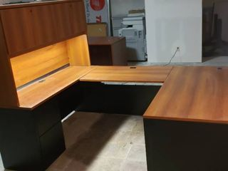 3 Piece Office Suite with Connectors   Main Desk has Drawers Auxiliary Desk has File Drawers and lighted Cabinet   Main Desk  60 x 30 x 29 in  tall   Auxiliary Unit  60 x 20 x 66 in  tall