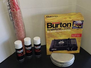 Burton Portable Burner  NIB  3 Fuel Cartridges  Mirro Folding Pan  and Tube of COCA COlA 9 oz  Wax Cups