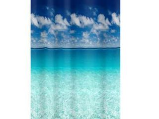 Ocean Sky Blue and Green Vinyl Shower Curtain